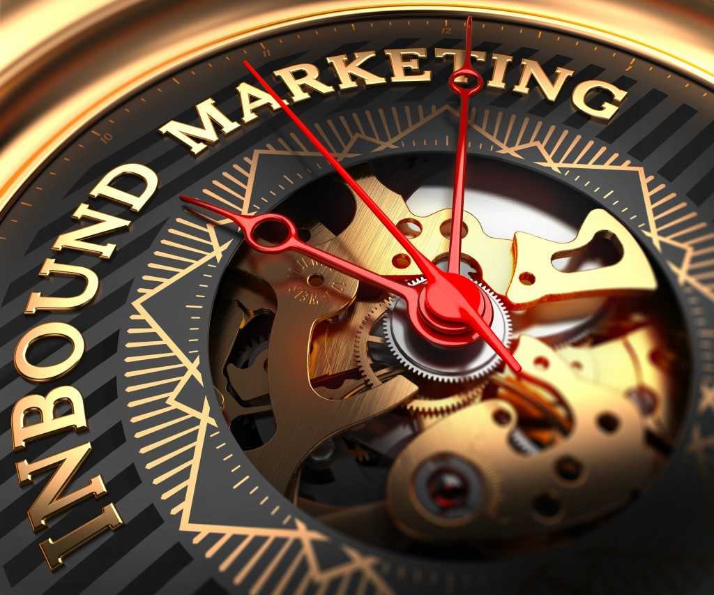 Inbound Marketing on Black-Golden Watch Face with Watch Mechanism. Full Frame Closeup.